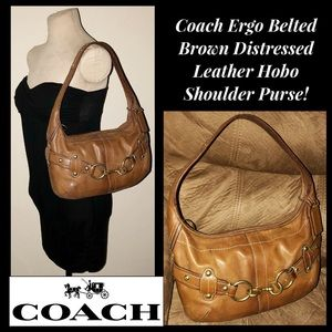 Coach Ergo Belted Distressed Leather Hobo Purse!
